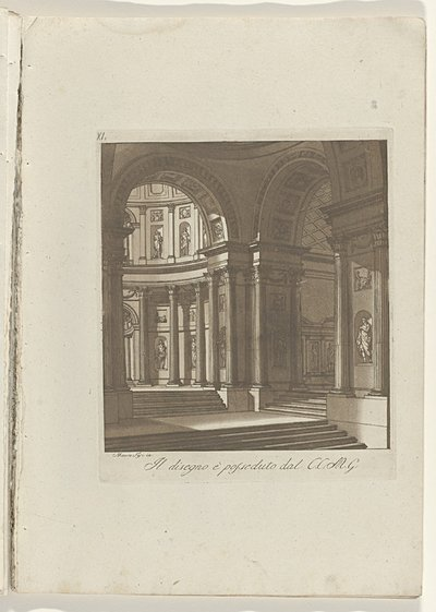 Interieur met trappartijen en beeldhouwwerken in nissen; Raccolta di dissegni originali di Mauro Tesi