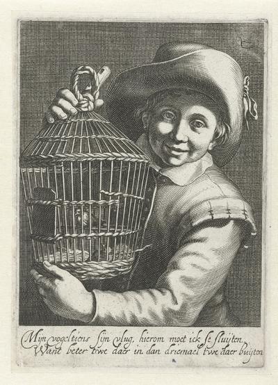 Jongen met vogelkooi