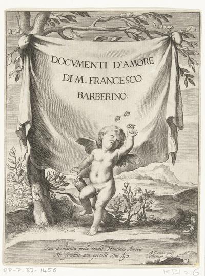 Amor probeert bijen te vangen; Titelpagina voor: F. Barberino, Documenti d'Amore, Rome, 1640