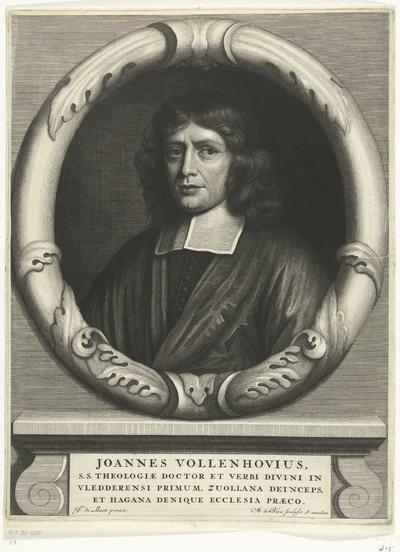 Portret van predikant Joannes Vollenhove; Joannes Vollenhovius, s.s. theologiae (...) denique ecclesia praeco