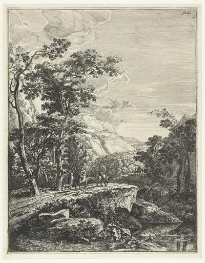 Landschap met vrouw rijdend op een muilezel langs de Aqua Negro tussen Bologna en Florence; Italiaanse Landschappen