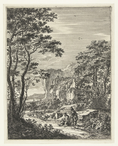 Landschap met een ossewagen, gezicht tussen Ancona en Senigallia; Italiaanse Landschappen