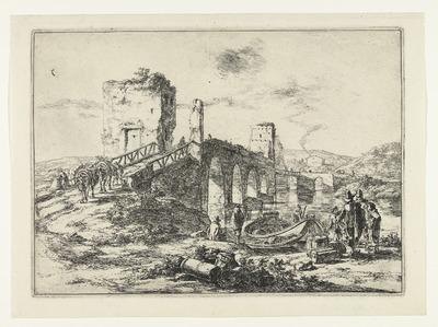 Landschap met brug, de Ponte Molle; Landschappen in de omgeving van Rome