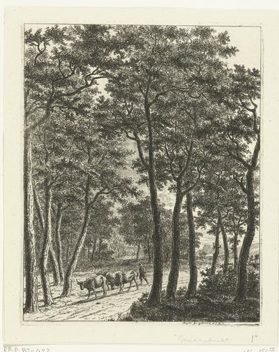 Boslandschap met een herder en drie koeien