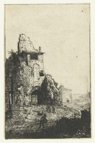 Caldarium van de thermen van Diocletianus; Romeinse ruïnes; Verscheijden Vervallen gebouwe Soo binnen als buyten Romen