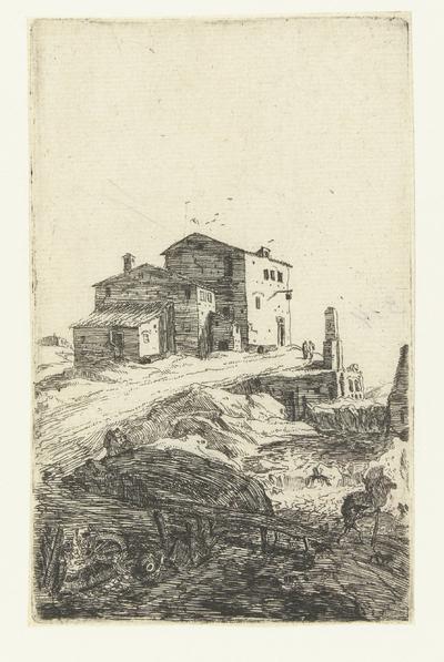 Herberg nabij de Prima Porta; Romeinse ruïnes; Verscheyden Vervallen gebouwen Soo binnen als buyten Romen