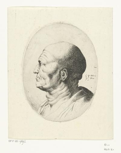 Buste van oude man met kaal hoofd