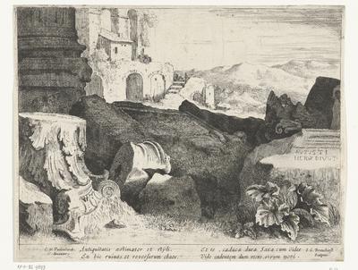 Brokstukken van zuilen en kapitelen; Antiquitatis aestimator et (...) mens vivum mori; Romeinse ruïnes