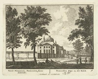 Huis ten Bosch in het Haagse bos met oprijlaan; Uitgeleesene Gesichte van het Wijdvermaarde Loo als andere vorstelijke Huisen; Admirandorum quadruplex spectaculum