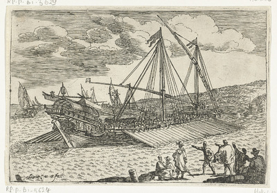 Image from object titled Turkse galei op zee; Gezichten van de haven van Messina