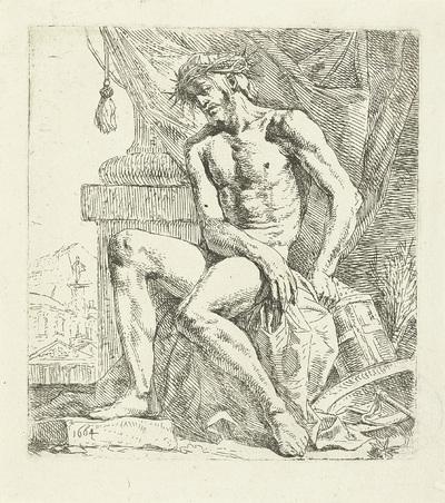 Man van Smarten, zittend op een steen
