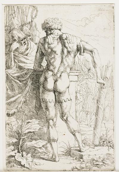 Image from object titled Romeinse soldaat met fasces op zijn rug gezien