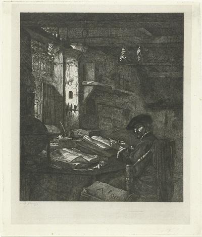 Koopman in zijn kantoor