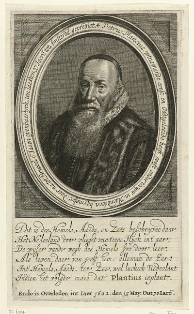Portret van Petrus Plancius op 70-jarige leeftijd