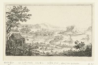 Rivierlandschap met rotseiland; Zes landschappen, tweede serie