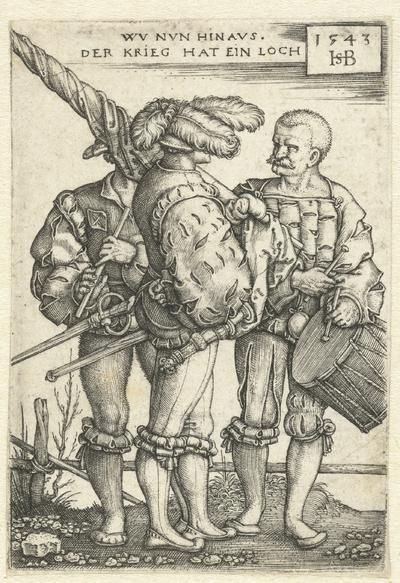 Image from object titled Vaandeldrager, tamboer en fluitspeler
