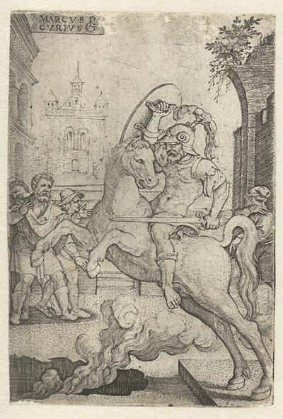Marcus Curtius stort zich in een kloof; Marcvs Cvrtivs; Romeinse helden
