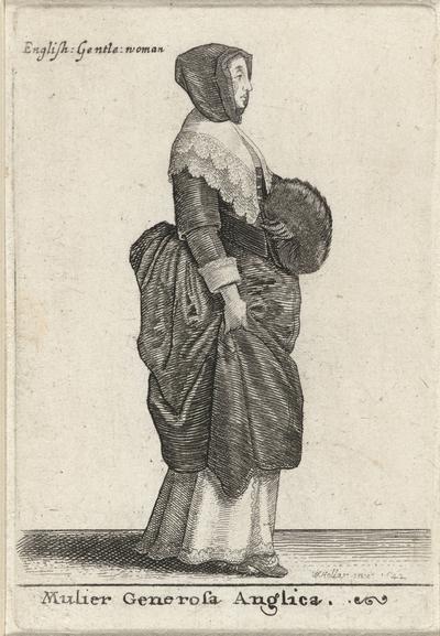 Mulier Generosa Anglica / English Gentle woman; Europese vrouwen in klederdracht; Theatrum Mulierum