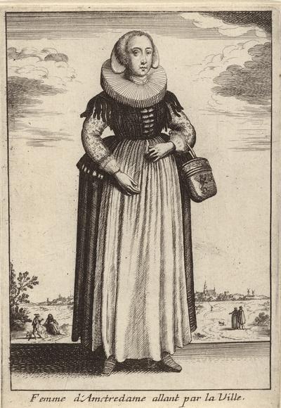 Femme d'Amstredame allant par la Ville; Vrouwen in klederdracht; Livre Curieux