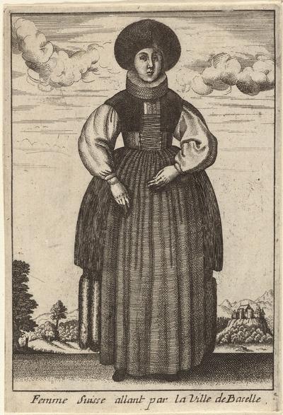 Femme Suisse allant par la Ville de Baselle; Vrouwen in klederdracht; Livre Curieux