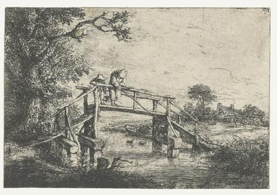 Twee vissers op een brug; De hengelaar