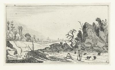Herders met schapen bij rotsen; Landschappen naar Esaias van de Velde