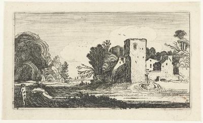 Landschap met vierkante toren bij huizen; Landschappen naar Esaias van de Velde