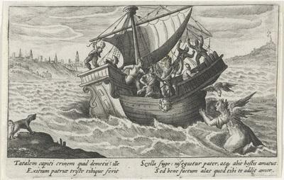 Image from object titled Scylla achtervolgt het schip van Minos; Metamorfosen van Ovidius