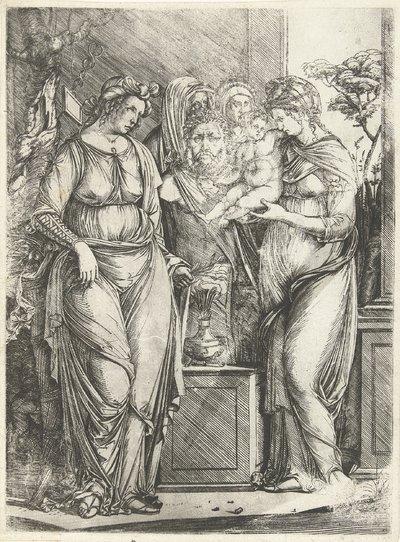 Vier vrouwen offeren jongen bij beeld van Priapus