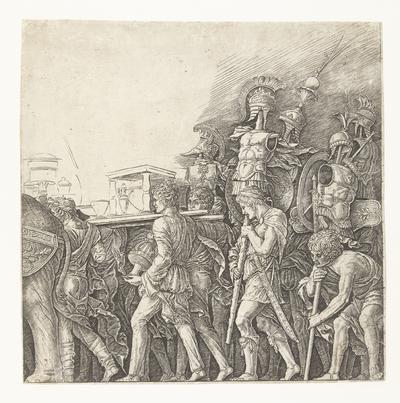 Soldaten met oorlogstrofeeën in triomftocht van Caesar; Triomf van Caesar