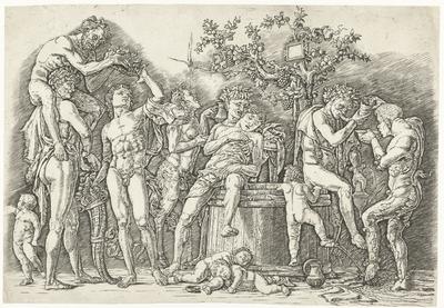 Bacchanaal met satyrs en bacchanten bij wijnpers