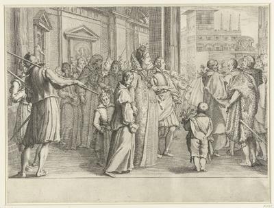 Christina van Lotharingen begeleidt een jong stel naar de kerk; Leven van Ferdinando I de' Medici