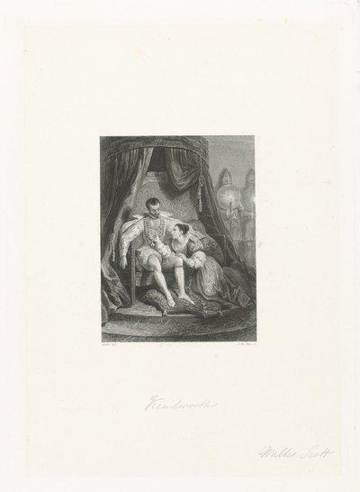 Man op een troon met aan zijn voeten een dame; Kenilworth