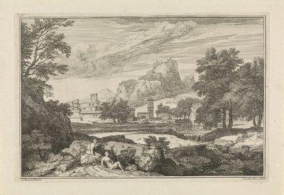 Landschap met twee rustende figuren op de voorgrond; Arcadische landschappen
