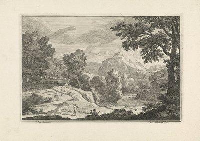 Landschap met een rivier en herders; Arcadische landschappen