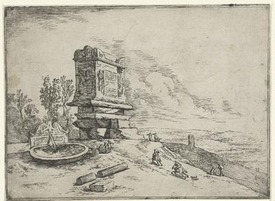 Landschap met een sarcofaag en een fontein