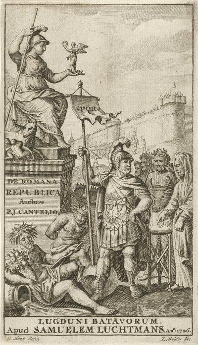 Allegorie op het Romeinse Rijk; Titelpagina voor: P.J. Cantel, De Romana Republica (...), 1726