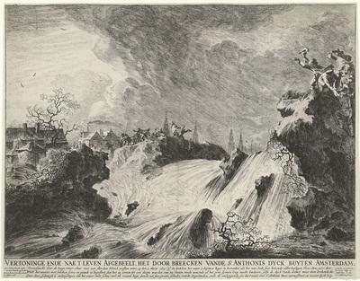 Doorbraak van de Sint-Antoniesdijk op 5 maart 1651; Vertoninge ende nae t' leven Afgebeelt, het door breecken vande St. Anthonis dyck buyten Amsterdam