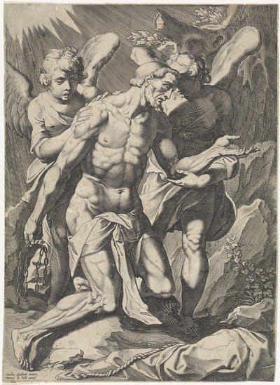Man ondersteund door twee engelen