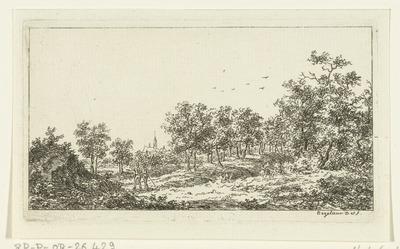 Landschap met twee wandelaars