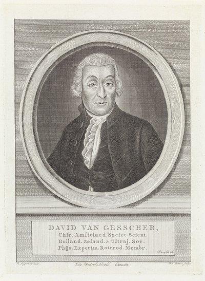 Portret van geneesheer en lector in chirurgie David van Gesscher; David van Gesscher (...) experim. roterod. mebr.