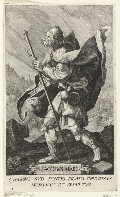 Apostel Jakobus de Meerdere (Jacobus Maior) als pelgrim; S. Iacobvs Maior; Christus en twaalf apostelen