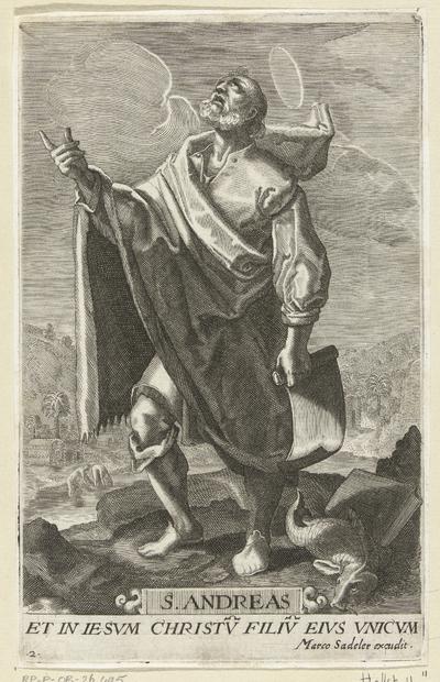 Apostel Andreas met schriftrol en vis; S. Andreas; Christus en twaalf apostelen