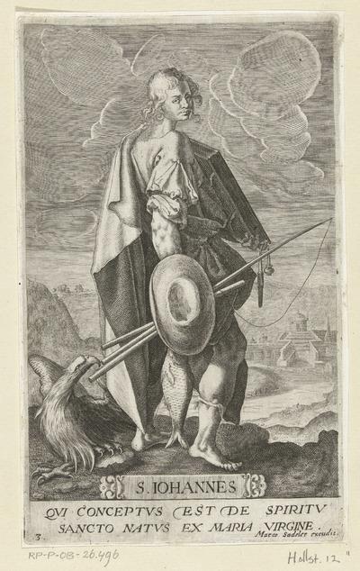 Apostel en evangelist Johannes met vishengel en adelaar; S. Iohannes; Christus en twaalf apostelen
