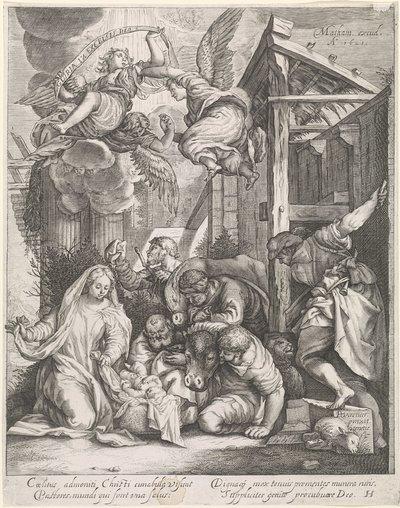 Aanbidding der herders met engelen