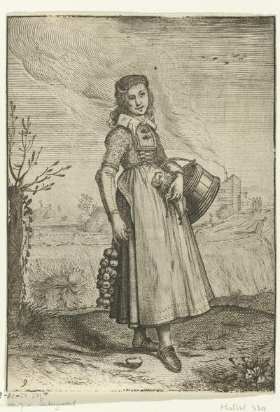 Boerin uit Hoorn; Klederdracht en omgeving van Nederlandse edelvrouwen en boerinnen; Habitus et cultus Matronarum Nobilu et Rusticarum apud Batauos