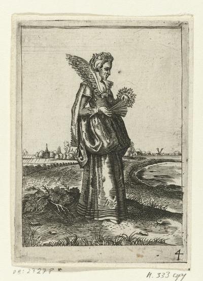 Elegante dame,  haar waaier openend; Klederdracht van Nederlandse edelvrouwen