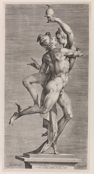 Mercurius en Psyche: zijaanzicht met de zijde van Mercurius; Mercurius en Psyche