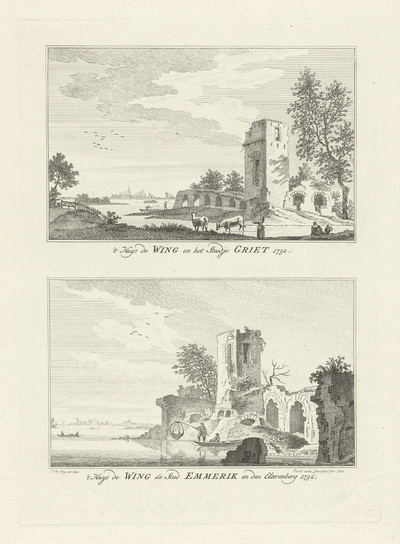 Gezichten op Huis de Wing en de steden Griethausen en Emmerik, 1732; 't Huys de Wing en het Steedje Griet 1732 / 't Huys de Wing de stad Emmerik en den Elterenberg 1732; Dorps- en stadsgezichten te Kleef