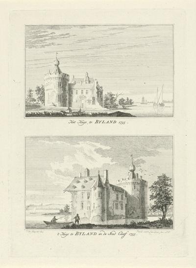 Kasteel Bylandt, 1735; Het Huys te Byland 1735 / 't Huys te Byland en de stad Cleef 1735; Dorps- en stadsgezichten te Kleef